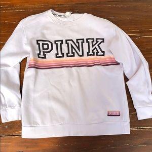 Pink crewneck w/sleeve logo sz xs